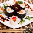 Sushi with decoration — Stock Photo
