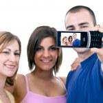 Teenagers taking funny photos — Stock Photo