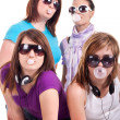 Group of girls with bubble gum — Stock Photo