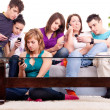 Group of teenage  with cellphones — Photo