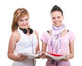 Jovens estudantes sobre fundo branco — Foto Stock