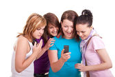 Teenage girls messaging — Stock Photo