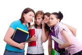 Gruppen flickor och mobiltelefon — Stockfoto