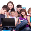 Teenagers looking at laptop — Foto de Stock