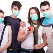 Group of young with mask — Stock Photo #3692056