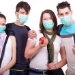 Group of young with mask - Stock Photo