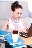 Female studnet working on laptop — Stock Photo
