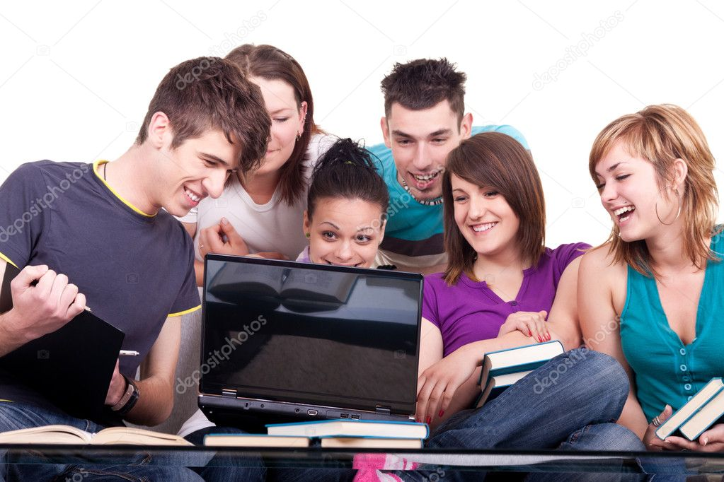 Group of young smiling students with notebook — Stok fotoğraf #3691389