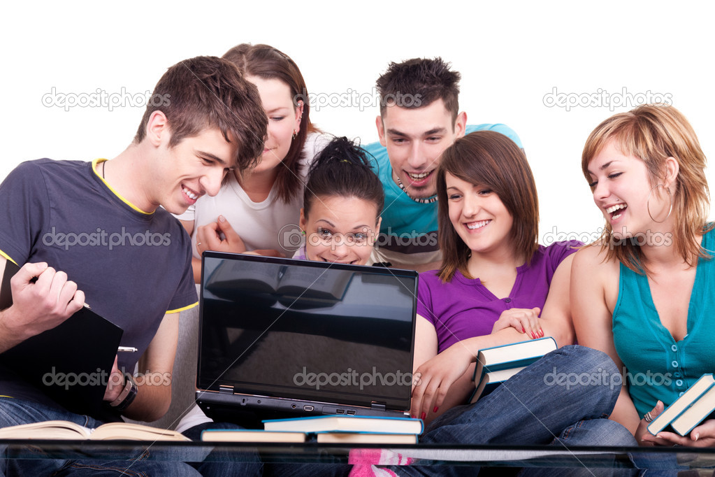 Group of young smiling students with notebook — Lizenzfreies Foto #3691389
