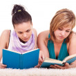 Two young girls  reading books - Stock Photo