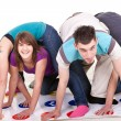 Fun while playing twister — Stock Photo