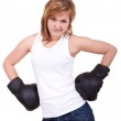 Blond girl with boxing gloves — Stock Photo #3721150
