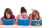 Group of girl reading books — Стоковое фото