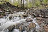 Rushing River Water Over Rocks — Stock Photo
