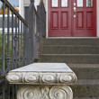 Stone Garden Bench by the Front Door — Stock Photo