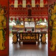 Stock Photo: Chinese Temple Red Wooden Doors