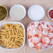 Pesto shrimp ingredients — Stock Photo