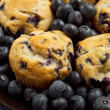 Plate of blueberry muffins — Stock Photo