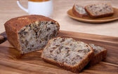 Walnut banana bread — Stock Photo