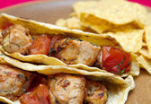 Chicken tacos and chips — Stock Photo