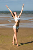 Exercising on the beach — Stock Photo