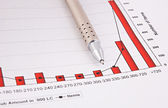 Fountain pen and Business charts — Stock Photo