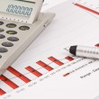 Calculator, pen and Business Chart — Stock Photo