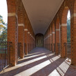 Arched walkway and morning sun vertical - 图库照片