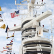 Electronic equipment mast on a cruise ship - Foto de Stock
