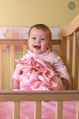 Baby Girls in Crib - Triplets — Stock Photo