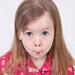 Adorable little girl isolated on white backgroun — Stock Photo