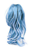 Wig of long blue hair isolated on white — Stock Photo