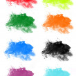 Stock Photo: Collection of grungy colored brush design elemen