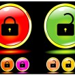 Stock Vector: Shone buttons lock and unlock