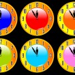 Color collection of clocks — Vektorgrafik