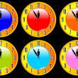 Stock Vector: Color collection of clocks