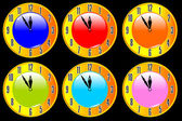 Color collection of clocks — Vecteur