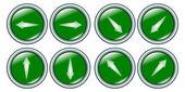 Kolekce tlačítka s šipkami zelená — Stock vektor