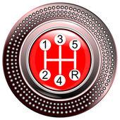 Vehicle's gear red 5 speeds — Stock Vector