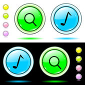 Shone blue buttons the music, search — Stock Vector