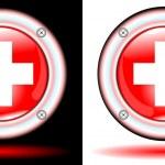 Button medical sign cross — Stock Vector