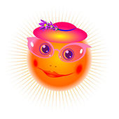 Sorridente il sole in un cappello e occhiali rosa — Vettoriale Stock