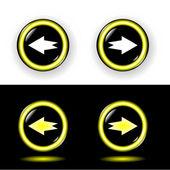 Buttons mit Gold Rand glänzte schwarz — Stockvektor