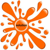 Button orange blot solution isolated — Stock Vector