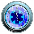 Stock Vector: Clock with medical sign vector eps10