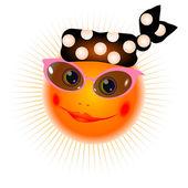 The smiling sun in bandanna — Stock Vector