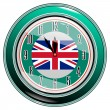 Clock with a flag of Great Britain — Imagen vectorial