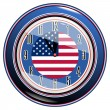 Stock Vector: Clock with flag of USA