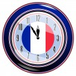 Stock Vector: Clock with flag of France