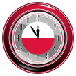 Stock Vector: Clock with a flag of Poland
